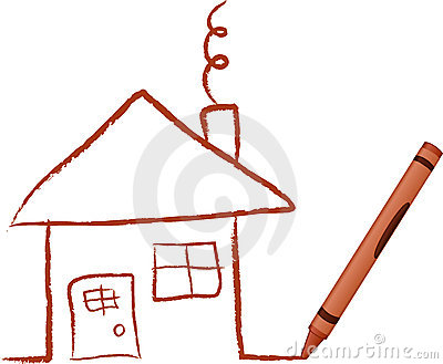 Crayon Drawn House
