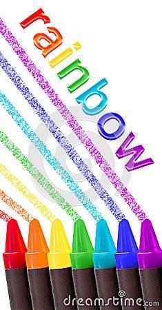 Crayon rainbow over white