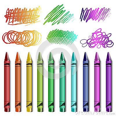 Crayon set with sketches
