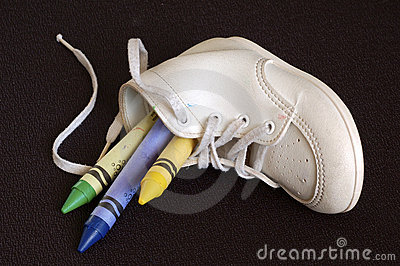Crayons In Baby Shoe