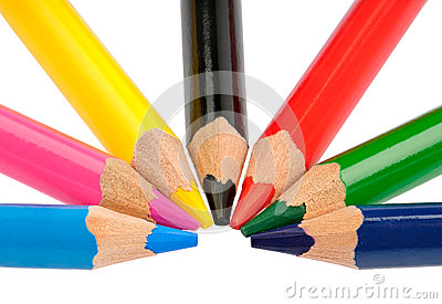 Crayons in basic colors CMYK and RGB