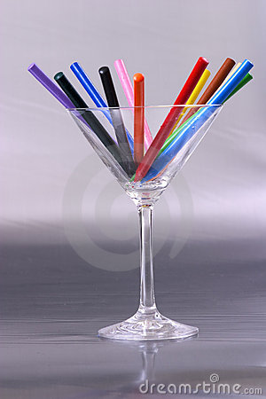 Crayons on a glass