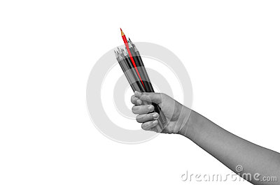 Crayons in a Handful of Children The red bars are more prominent than other colors. Shows the difference. Stock Photo