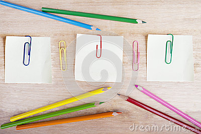 Crayons, post-it, and paperclips