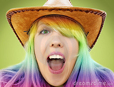 Crazy beauty cowgirl screaming