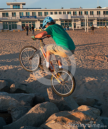 Crazy biker rock hopping Editorial Photo