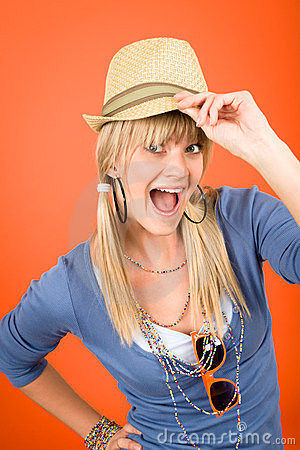 Crazy blond girl wear hat shouting