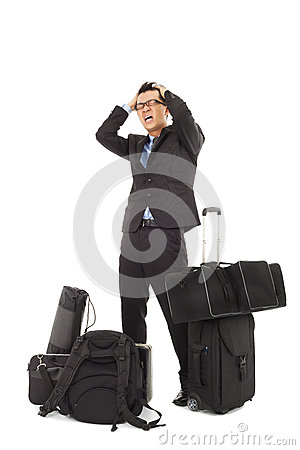 Crazy businessman feel painful expression