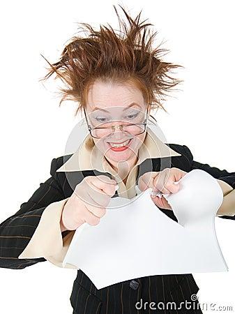 Crazy businesswoman breaks contract .