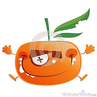 Crazy cartoon orange tangerine fruit character jumping