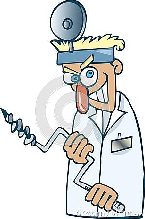 Crazy dentist Vector Illustration