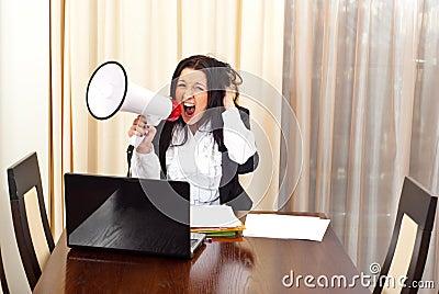 Crazy desperate woman shouting megaphone