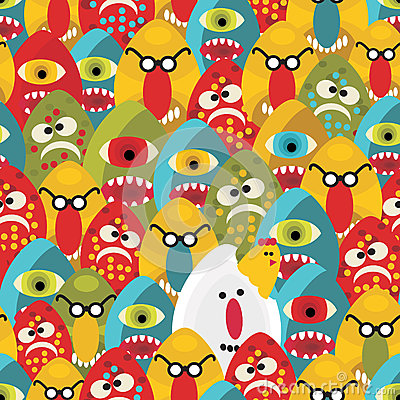 Free Crazy Eggs Monsters Seamless Pattern. Stock Image - 32693881