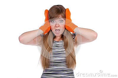 Crazy girl with orange mittens