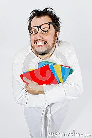 Crazy happy nerd