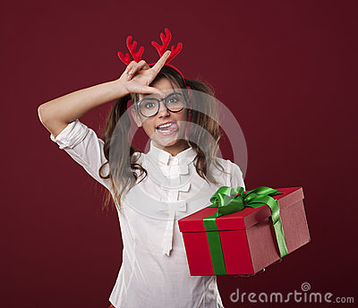 Crazy lady with gift