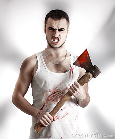 Crazy mad ripper with an ax
