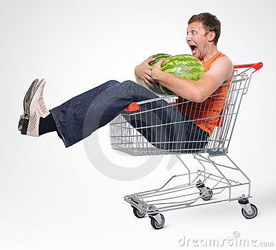 Free Crazy Man In Shopping-cart With Two Watermelon Stock Photos - 15501883