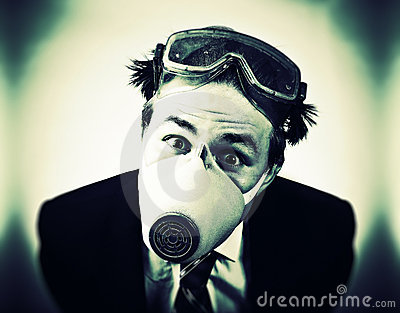 Crazy man in protective mask