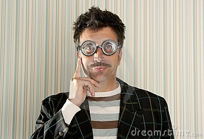 Crazy nerd man myopic thinking funny gesture