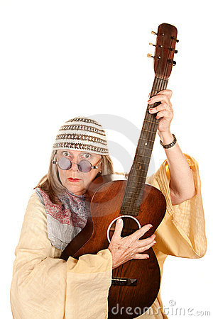 Crazy New Age Woman with Guitar