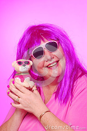 Crazy pink woman with teddy dog