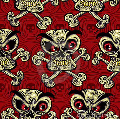 Crazy skulls seamless pattern.