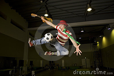A crazy soccer fan entertainer