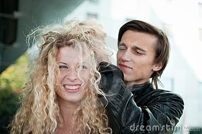 Crazy time - couple playing with hair