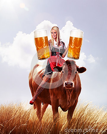 Crazy tiroler or oktoberfest woman