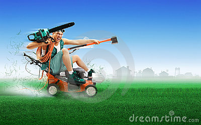 Crazy workman driving lawn mower