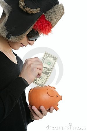 Crazy young student boy, one dollar in piggy bank