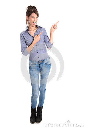 Crazy young woman presenting with her hands.
