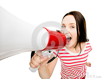Crazy young woman shouting megaphone pretty cute isolated on whi