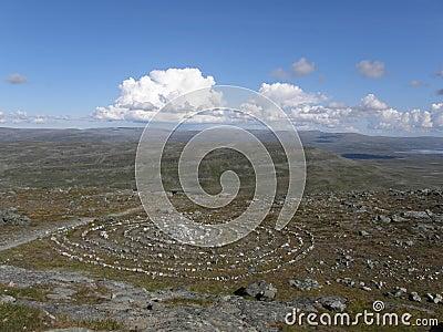 Círculo sagrado de Sami em Lapland