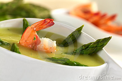Cream of Asparagus with Shrimp