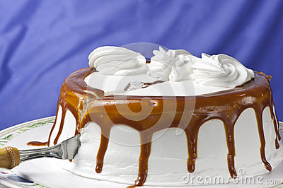 Cream cake with caramel