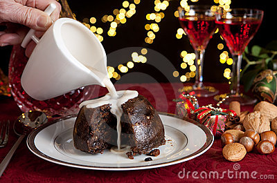 Cream on a christmas pudding