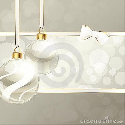 Free Cream-colored Banner With Christmas Ornaments Stock Photo - 21752000