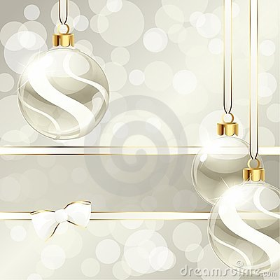 Free Cream-colored Banner With Christmas Ornaments Royalty Free Stock Photo - 21752005