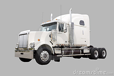 Cream colored Transport truck