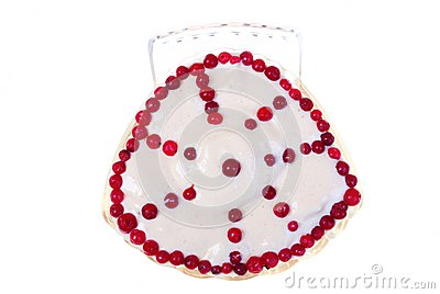 Cream and redberries isolated