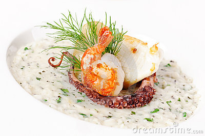 Cream soup with seafood Stock Photo