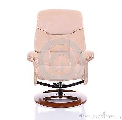 Cream suede recliner chair