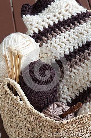 Knitting hobby basket