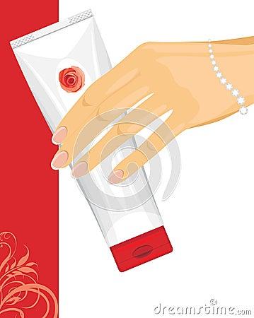 Cream tube in female hand
