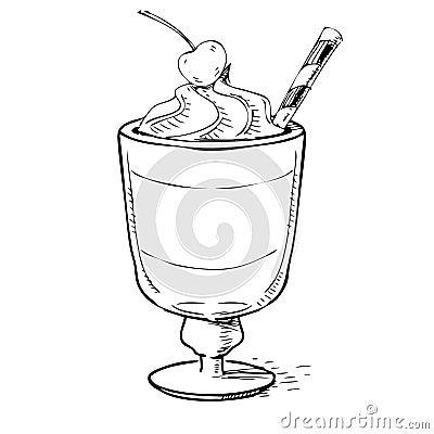 Creamy milk shake with cherry and foam