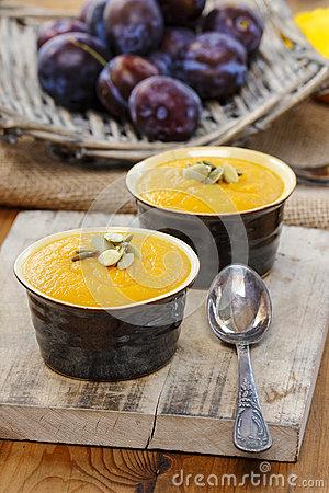 Free Creamy Pumpkin Dessert On Wooden Table Royalty Free Stock Image - 39315356