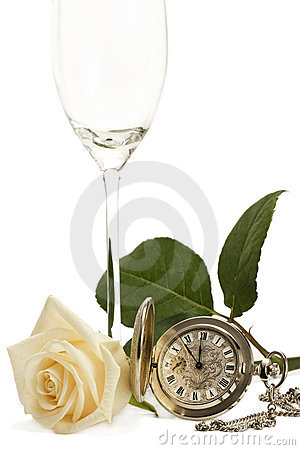Creamy rose with a old pocket watch and a empty ch