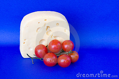 Creamy Soft Bavarian Cheese With Cherry Tomatoes